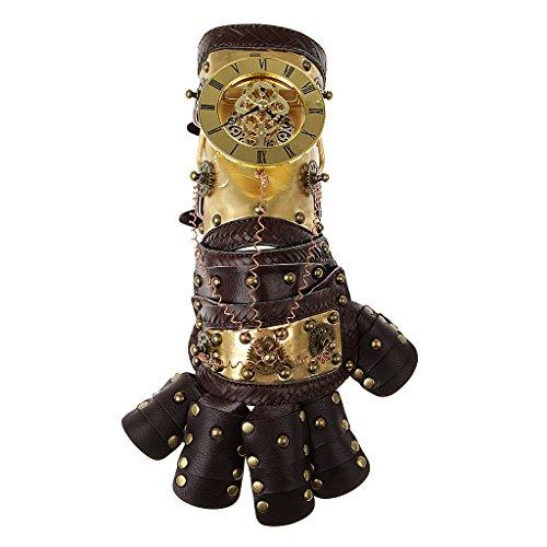 Hellery Nietenhandschuhe Herren Damen Steampunk Kostüm Handschuhe mit Zahnräder Deko Faschingskotüm Karnevalskostüm - Farbe 2
