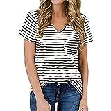 Ladies Printed Shirt Striped Printed V-neck Women top striped printed v-neck pocket short-sleeved T-shirt