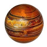 Reviheal ™ Esfera de Ojo de Tigre Marrón Reiki Curación de Cristal Arte de Equilibrio Regalo de Decoración de Mesa for Harmonize