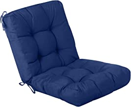 QILLOWAY Outdoor Seat/Back Chair Cushion Tufted Pillow, Spring/Summer Seasonal Replacement Cushions. (Navy)