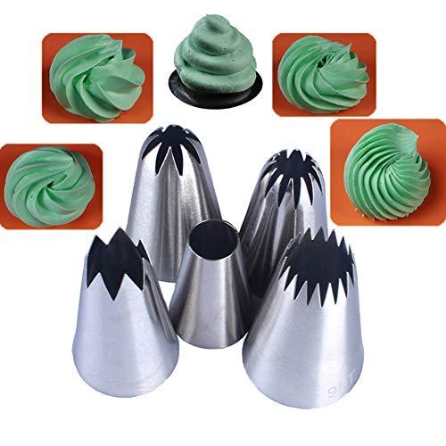 Spritztüllen, große Kuchendekorationswerkzeuge, 5 Stück