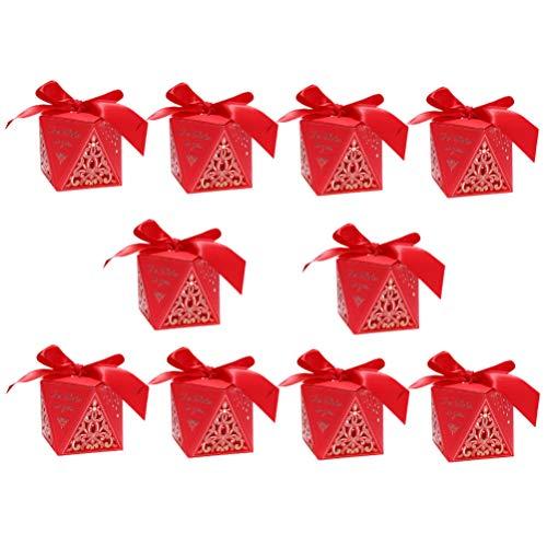 Amosfun 10 Stks Holle Snoep Box Chinese Stijl Bruiloft Party Favor Boxen Kleine Geschenkdozen voor Bruiloft Bruidsdouche Baby Douche Verjaardag Party Rode Maat S 7.5*7.5cm Afbeelding 1