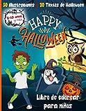 Happy Halloween libro de colorear para niños: Actividad para colorear en Halloween para niños,...