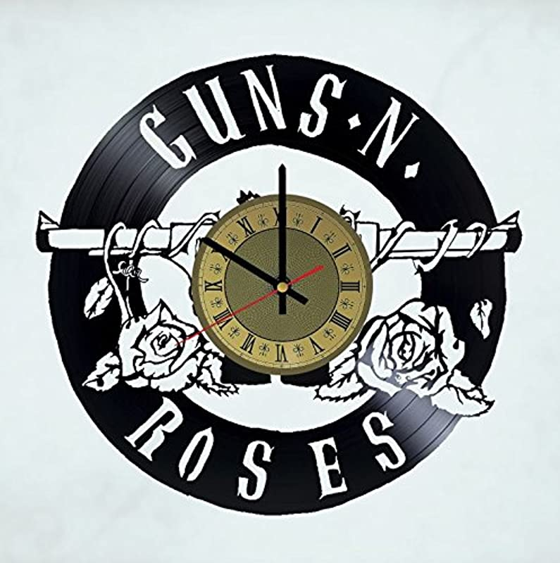 Guns N Roses Rock Band Vinyl Record Wall Clock Artwork Gift Idea For Birthday Christmas Women Men Friends Girlfriend Boyfriend And Teens Living Kids Room Nursery Gold Black