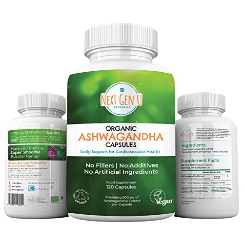 Next Gen U | 120 Organic Ashwagandha Capsules with Black Pepper | High Strength Withanolides | 4 Months Supply Easy Swallow | Soil Association Vegan Society Certified | Ayurveda Withania Somnifera
