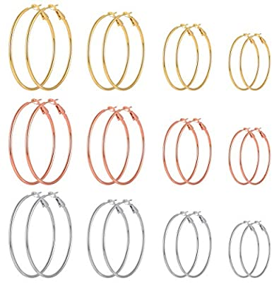 Cuicanstar 12 Pairs Stainless Steel Gold Plated Rose Gold Plated Silver Hoop Loop Earrings for Women Girls (30.40.50.60mm)