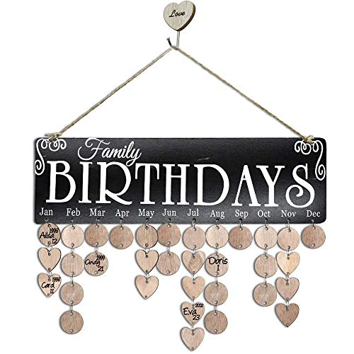 YuQi Gifts for Moms/Dads/Grandma/Grandpa- Wooden Family Birthday Reminder Calendar Board Wall Hanging,...