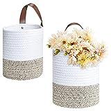 HUBLEVEL Cestas Colgantes de Cuerda de AlgodóN de 2 Piezas-Cesta de Almacenamiento de Pared Tejida de 6,29X7,08 Pulgadas con Asas Cestas Decorativas para Plantas de Flores
