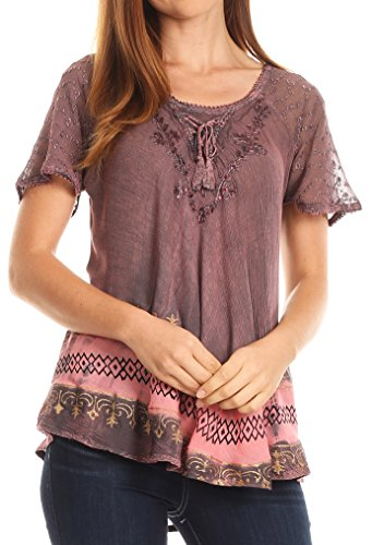Sakkas 17780 - Diane Kurzarm Slim Top Bluse mit Pailletten Stickerei & Golden Print - Rose - OSP