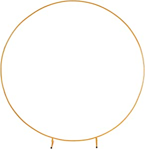 LANGXUN 7.2ft (2.2m) Large Size Golden Metal Round Balloon Arch kit Decoration, for Birthday Party Decoration, Wedding Decoration, Graduation Decorations and Baby Shower Photo Background Decoration