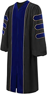 lescapsgown Deluxe Doctoral Graduation Gown-Royal Blue Trim Gold Piping