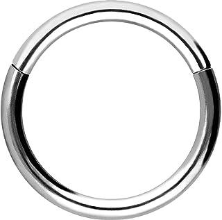 Piercingline - Piercing ad anello in acciaio chirurgico con chiusura a scatto, per setto nasale, helix, trago, colore e di...