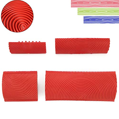 gotyou 4 Pieza Herramientas de grano de madera, Molde de veta de goma, juego de herramientas para la casa de madera granulada, Madera del grano Brush herramientas de pintura pared de la decoración DIY