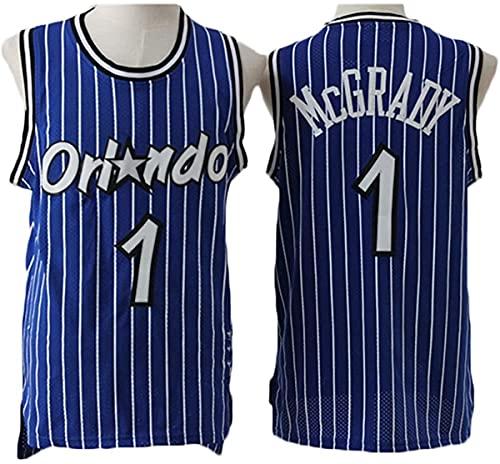 HZHEN Tracy McGrady 1# Jerseys, Orlando Magic, Ropa De Baloncesto para Hombres, Tela Fresca Y Transpirable, Chaleco Sin Mangas Swingman, Ropa Superior,1,S (165~170CM / 50~65KG)