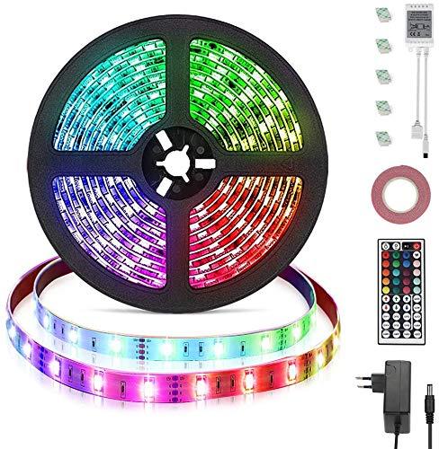 Opard 5m LED Streifen Strip 44 Tasten IR Fernbedienung RGB LED 5050 Wasserdicht Flexibel RGB IP65 LED Streifesn 150 LEDer für Decke Bar Theke Schrank Beleuchtung (5M)