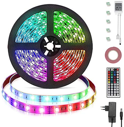 Opard LED Strip 5m Streifen 44 Tasten IR Fernbedienung RGB LED 5050 Wasserdicht Flexibel RGB IP65 LED Streifesn 150 LEDer für Decke Bar Theke Schrank Beleuchtung (5M)