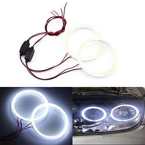 Qasim 1-Pair blanco COB LED Halo Anillos Ojos de Ángel LED Faro Delantero con Funda de Lámpara 12V 24V 70MM 60SMD no Polaridad Constante