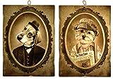 KUSTOM ART Juego de 2 cuadros estilo vintage serie animales Perros de colección impresión sobre madera moldeada con láser Made in Italy – Idea regalo (grupo 13)