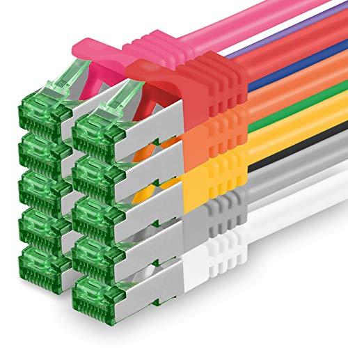 Cat7 Netzwerkkabel 623337 Cat 7 Netzwerk Kabel 0,25m 10 Farben 10 Stück Cat.7 LAN Kabel Rohkabel 10 Gb s SFTP PIMF LSZH Set Patchkabel mit Rj45 Stecker Cat.6a 10 x 0,25 Meter 10 Farben