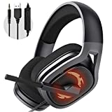 Gaming Headset, Surround Sound Over-Ear Headphones with Noise Cancelling Mic, Gaming Headphone Compatible for PC PS4, Xbox One, Mac, iPad, Nintendo Switch Games