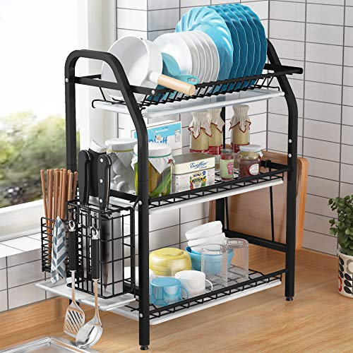 1Easylife Dish Drying Rack, 3 Tier Dish Rack Stainless Steel with Utensil Knife Holder and Cutting Board Holder Dish Drainer with Removable Drain Board for Kitchen Counter Organizer Storage