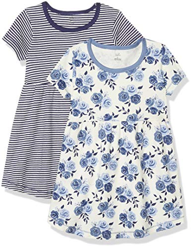 Touched by Nature Girls' Organic Cotton Short-Sleeve Dresses, Navy Floral Short-Sleeve, 4-Toddler