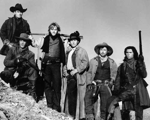 Charlie Sheen and Kiefer Sutherland and Emilio Estevez and Lou Diamond Phillips and Dermot Mulroney and Casey Siemaszko in Young Guns Outlaw portrait 11x14