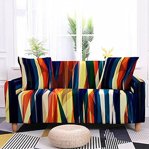 Fundas Sofa Elasticas 3 Plazas Rayas De Color Protector para Sofá de Poliéster Cubre Sofa Estampado Antideslizante Cubre Sofá Protector de Muebles, 2 Funda de Almohada