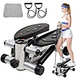 Mini stepper, Twister Stepper con bandas de potencia, entrenamiento en casa, escalones ajustables con pantalla LCD, entrenamiento de fitness en interiores