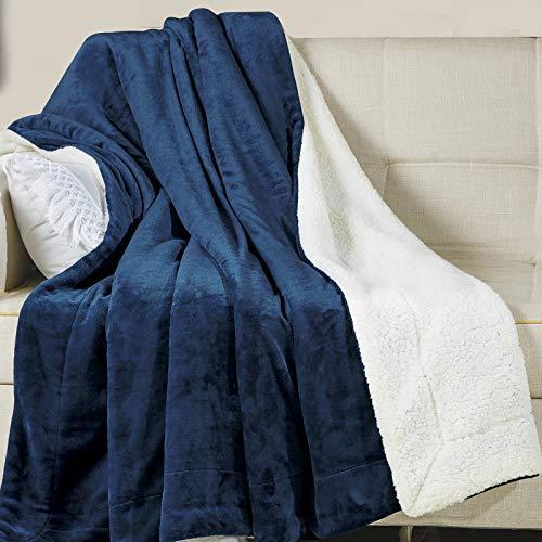 Wavve Manta Sherpa Franela Reversible 150x200 cm, Manta Polar para Cama 90, Manta Felpa de Sofá, 100% Microfibra, Suave, Caliente, Transpirable para Hogar, Oficina, Viaje (Azul Marino)
