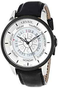 Gevril Men's 2002_Set 'Columbus Circle' Stainless Steel Automatic Watch with Black Leather Strap