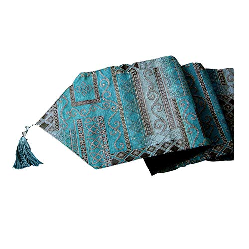 Electric oven Tabla Retro Corredor-Tassel Bordado Tabla Corredor Familia Mesa Decoración Cultura Arte, Decoración de Banquete (Color : Azul, tamaño : 32 * 200cm)