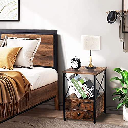 """WANSE Modern Night Stand/Sofa Side/End Table with 2 Drawers and Storage Shelf, for Living Room, Bedroom, Office, X-Design and Versatile, Easy Assembly, Rustic Brown+Black, 15.7"""" L x 15.7"""" W x 23.6"""" H"""
