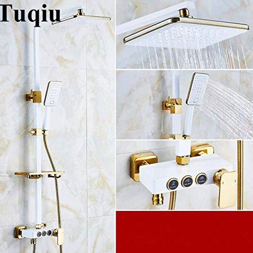 Badkamer gouden en witte regendouche Set messing douchekraan Set voor bad en douche in messing muur montage Stijl 1