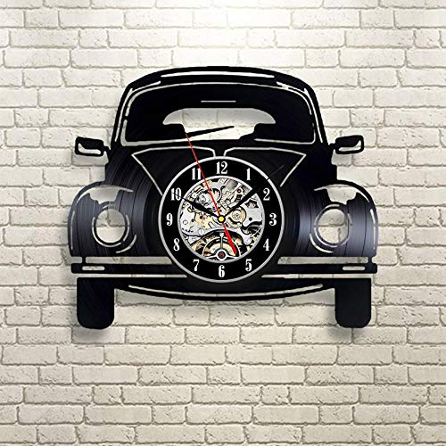 SKYTY Reloj De Pared De Vinilo Disco De Pared De Vinilo para Coche Decoración Moderna Y Vintage-con luz led