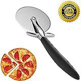 Cortapizzas,Cortador de Pizza - Calidad Pizza Cutter con Rueda de Acero Inoxidable y Mango de Silicona | Negro