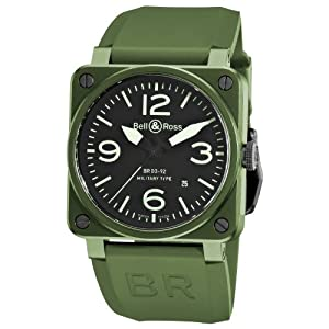 Bell & Ross Men's BR-03-92-MILITARY CERAMIC Aviation Black Dial and Green Strap Watch Watch image