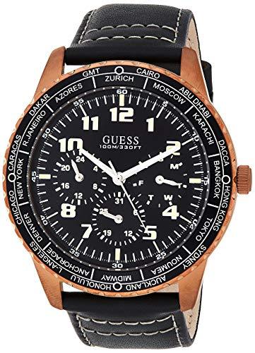 Guess Herren Analog Quarz Uhr mit Leder Armband W1170G2