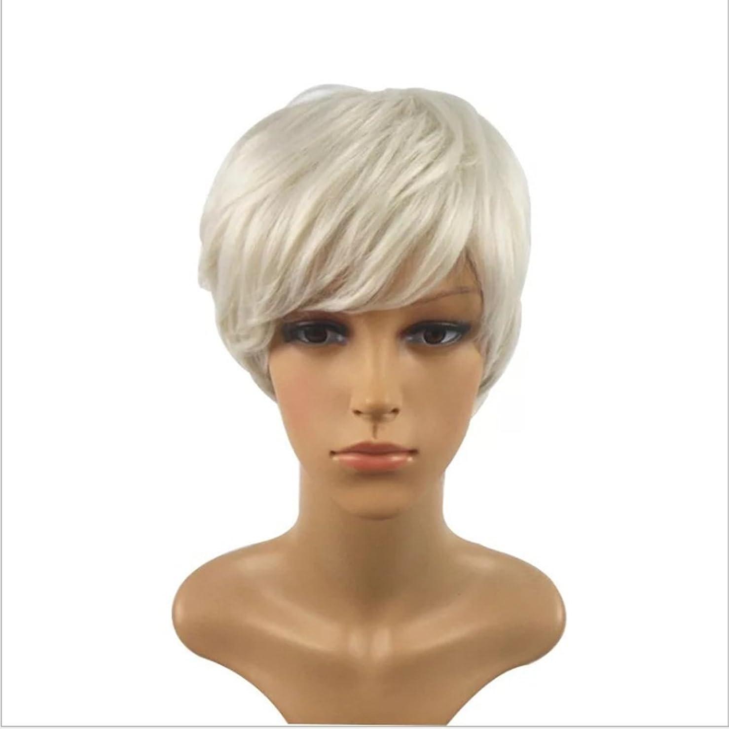 ギャングぼかし陰気Koloeplf 女性のための魅力的な女性の毛のかつらフラットバンズウィッグショートストレートウィッグパーティー、コスプレのための短いストレートウィッグを見て自然な (Color : ブラック)