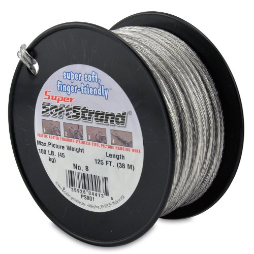 Wire & Cable Specialties Super Softstrand, Vinyl Coated Stranded Stainless Steel Wrapping, Size 8, 125 ft (38.1 m) Picture Wire