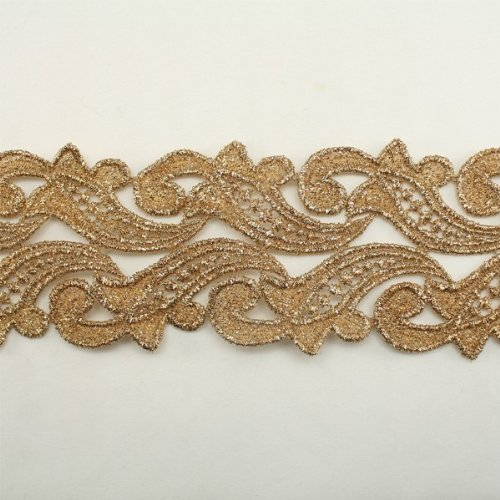 cd93886b1a6565 Gold Metallic Floral Flower Lace trim by the yard - Bridal wedding Lace Trim  wedding fabric