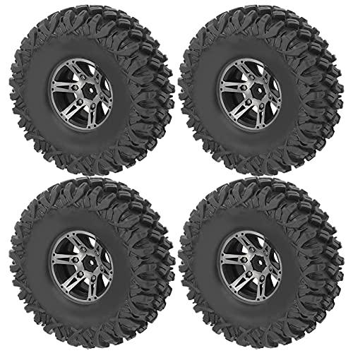 WYDM 4Pcs RC RC Vehículo Neumáticos, 1/10 Neumáticos de Goma de 120 mm 1.9in Rueda de aleación Accesorio de Control Remoto para automóvil