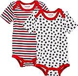 Schnizler Baby-Unisex Kurzarm, 2er Pack, Sterne Allover Und Geringelt, Oeko-tex Standard 100 Body, Rot (original 900), 62 (Herstellergröße: 62/68)