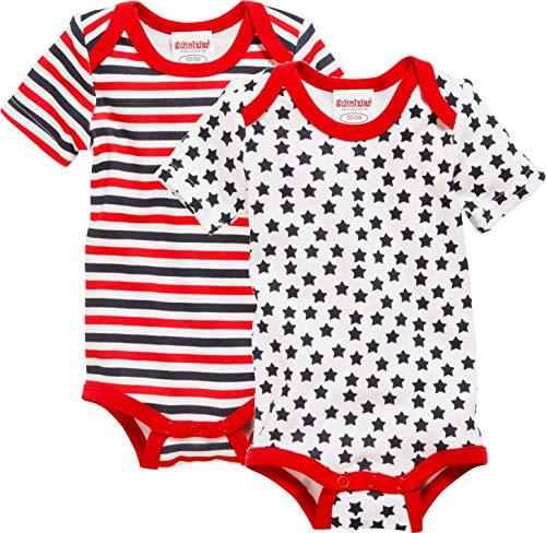 Schnizler Baby-Unisex Kurzarm, 2er Pack, Sterne Allover Und Geringelt, Oeko-tex Standard 100 Body, Rot (original 900), 86 (Herstellergröße: 86/92)