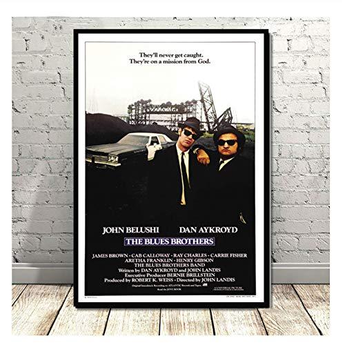 nr Blues Brothers Vintage Film TV Serie Klassische Leinwand Ölgemälde Poster Kunst Wandbilder Für Wohnzimmer Wohnkultur-50x70 cm Kein Rahmen