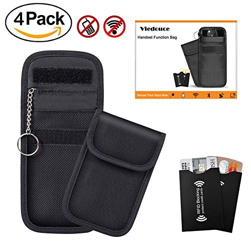 Viedouce 2x Keyless Go Schutz Autoschlüssel + 2x RFID Blocker Schutzhüllen für Kreditkarten & Bankkarten | Verhindere den Diebstal deines Autos, Autoschlüssel Hülle RFID/NFC/WLAN/GSM/LTE Blocker