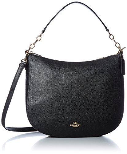 COACH Polished Pebbled Leather Chelsea 32 Hobo Li/Black One Size