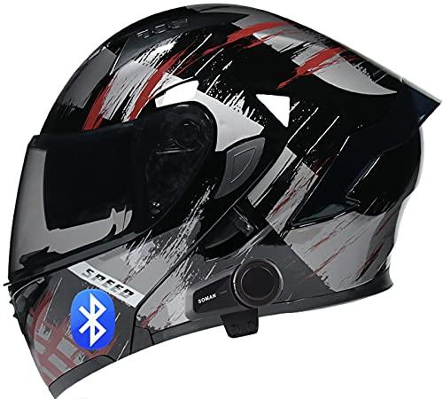 SJAPEX Bluetooth Integrado Casco de Moto Modular con Doble Visera Cascos de Motocicleta ECE Homologado a Prueba de Viento para Adultos Hombres Mujeres Micrófono Incorporado F,M=57~58cm