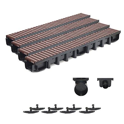 4m Entwässerungsrinne Belastungsklasse B125, 98mm komplett SET Stegrost Kunststoff (braun)