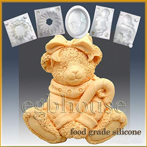 Great Features Of Bear with Candy Cane- Silicone Soap/Sugar/Fondant/Chocolate/Marzipan 3D Mold